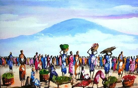 Open Air Market Scene by Joseph Muchina