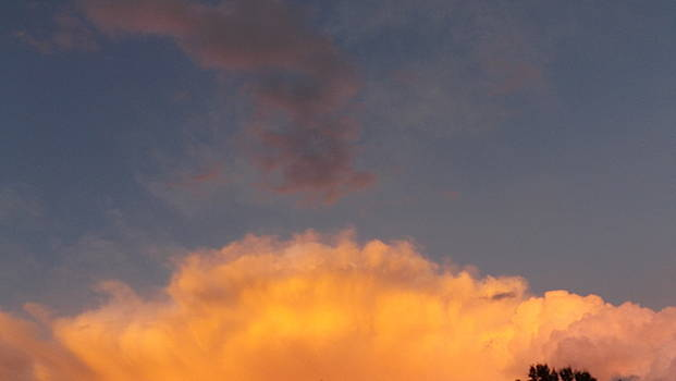 Orange Cloud with Grey Puffs by Don Koester