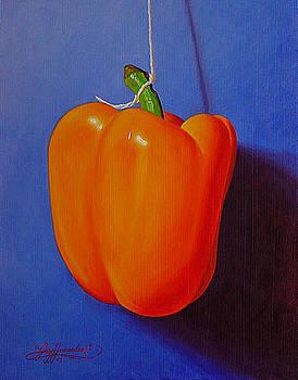 Orange on Cobalt Blue by Gary  Hernandez