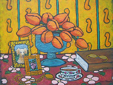 Orange Tulips in Wallpapered Room by Carl Stevens