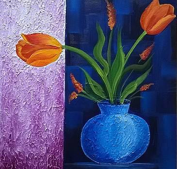 Orange Tulips by Kalpana Somalwar