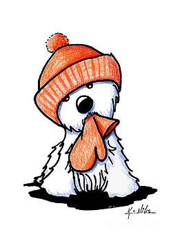 Orange Winter Westie by Kim Niles