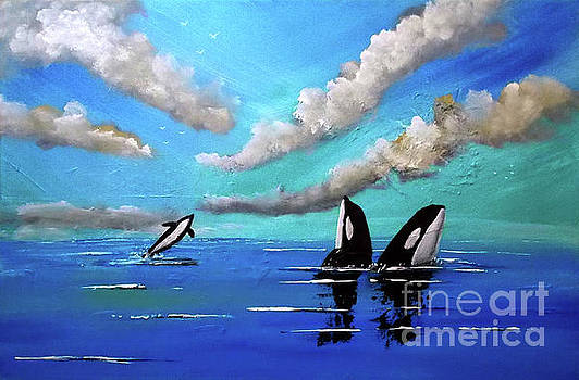 Orcas at Play by Topher Essex