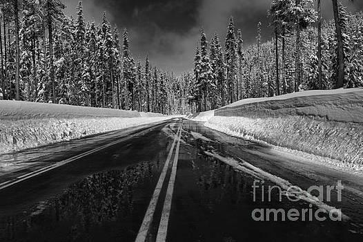 Adam Jewell - Oregon Winter Roads - Black And White