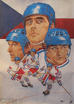 Original 1976 Canada Cup Poster, World Series of Hockey, Team Czechoslovakia by Unknown