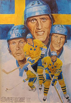 Original 1976 Canada Cup Poster, World Series of Hockey, Team Sweden, Sverige by Unknown