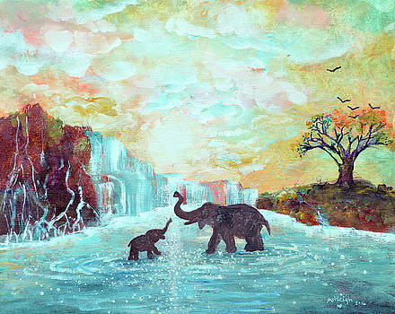 Original Elephant Painting- Love Makes The World Go Round by Ashleigh Dyan Bayer