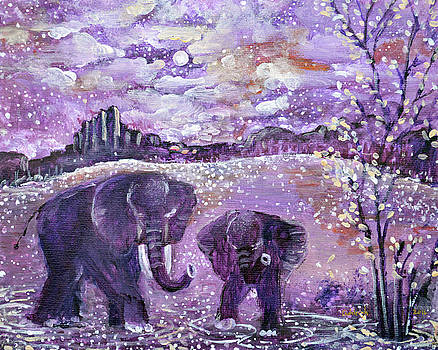 Elephant Painting - Singing and Dancing with You all the way to heaven by Ashleigh Dyan Bayer