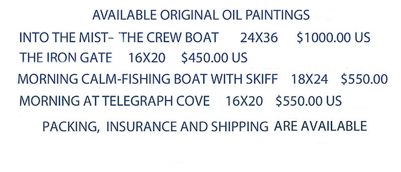 Original Oil Painting Availability List by Gary Giacomelli