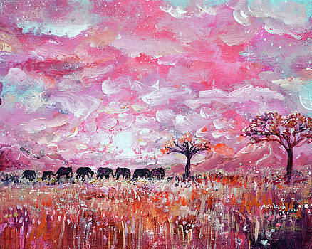 Original Pink Elephant Painting- Kindness, walking talking, and traveling together by Ashleigh Dyan Bayer