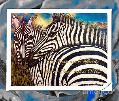 Our Stripes May Be Different But Our Hearts Beat As One with Inspirational Message by Kimberlee Baxter