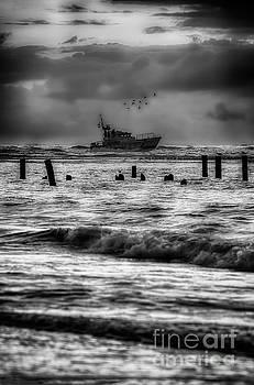 Dan Carmichael - Outer Banks Fishing Boat at Sunrise BW