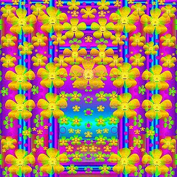 Outside the curtain it is peace florals and love by Pepita Selles
