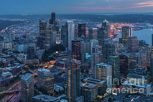 Over Seattle A Beautiful Downtown by Mike Reid