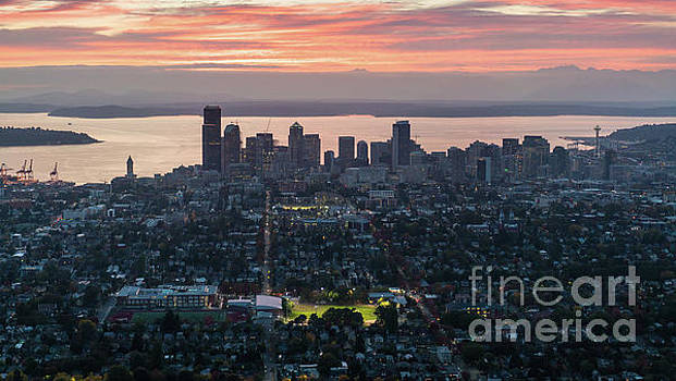 Over Seattle and Capitol Hill at Sunset by Mike Reid