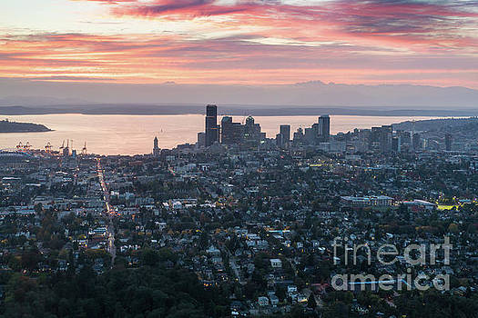 Over Seattle At Dusk by Mike Reid