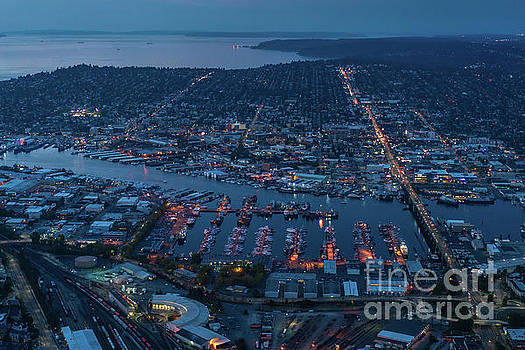 Over Seattle Ballard and Interbay Dusk by Mike Reid