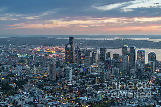 Over Seattle Downtown and the Stadiums by Mike Reid
