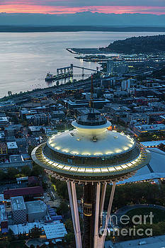Over Seattle Space Needle Dusk Closeup by Mike Reid