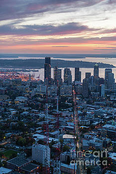 Over Seattle  The View Up Madison Street at Sunset by Mike Reid