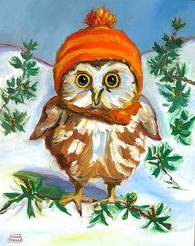 Owl in Orange Hat by Susan Thomas