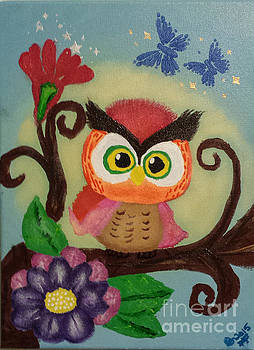 Owl Painting  Whimsical   by Peggy Franz