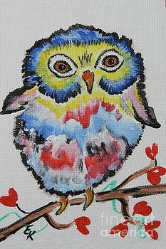 Owl will alway Love You - Whimsical Colorful Original Painting #646 by Ella Kaye Dickey