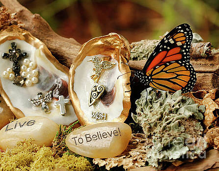 Oyster Prayer Garden with Butterfly by Luana K Perez