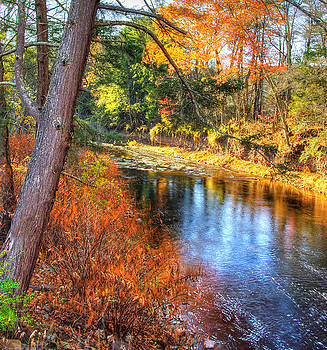 PA Country Roads - Huntington Creek at West - East Paden Covered Bridges - Autumn Columbia County by Michael Mazaika