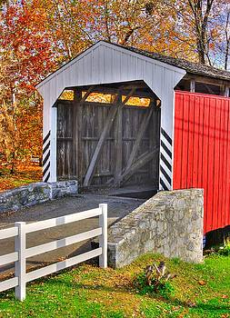 PA Country Roads - Willow Hill Covered Bridge Over Miller's Run #4 Close - Lancaster County Autumn by Michael Mazaika