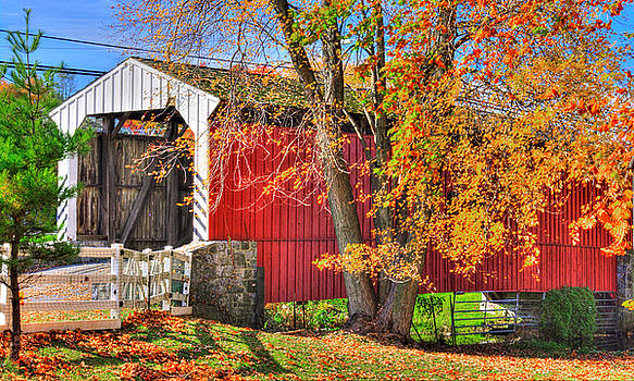 PA Country Roads - Willow Hill Covered Bridge Over Miller's Run No. 10 - Lancaster County Autumn by Michael Mazaika
