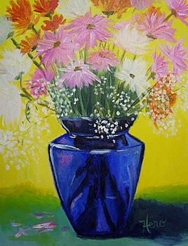 Painted Daisies in Blue Vase by Marcia  Hero