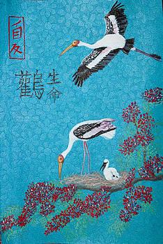 Painted storks and Gulmohar by Greeshma Manari