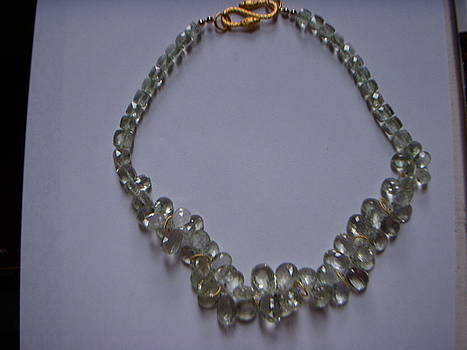 Pale Green Amethyst and Gold Necklace by Antoinette DAndria Rumely