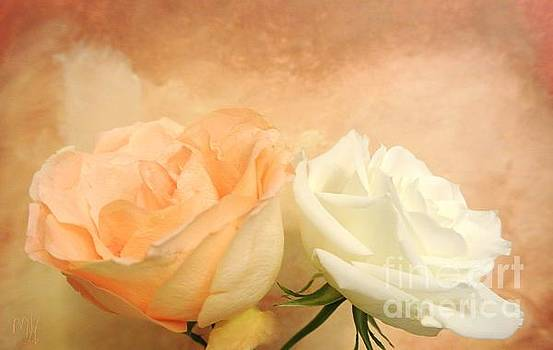 Pale Peach and White Roses by Marsha Heiken