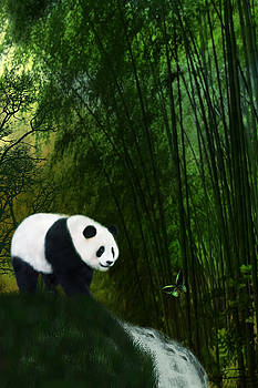 Panda In The Bamboo Forest by Emma Alvarez