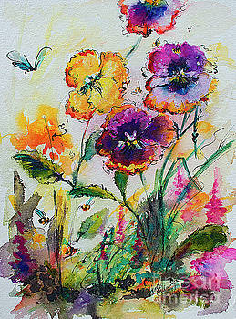 Ginette Callaway - Pansies In My Garden Watercolor and Ink