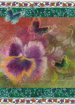 Pansy Butterfly Asianesque border by Judith Cheng