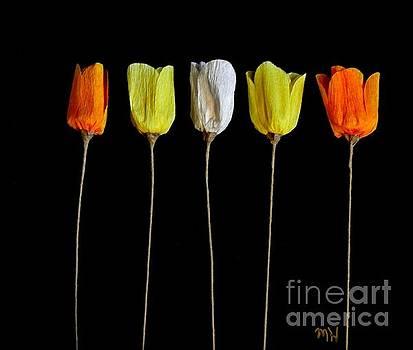 Paper Tulips Five by Marsha Heiken
