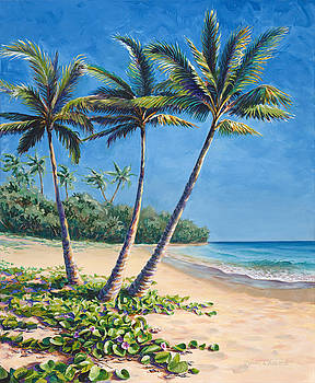 Tropical Paradise Landscape - Hawaii Beach and Palms Painting by Karen Whitworth
