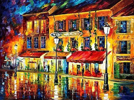 Paris-Night Montmartre - PALETTE KNIFE Oil Painting On Canvas By Leonid Afremov by Leonid Afremov