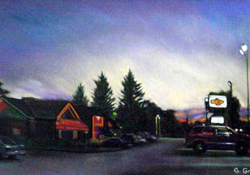 Parking Lot Dusk 2 by George Grace