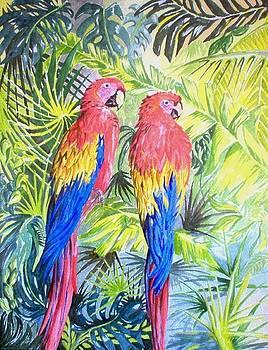 Parrots in Jungle by Frances Evans