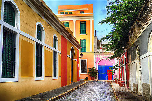 Pastel Colored Street in Old San Juan, Puerto Rico by George Oze