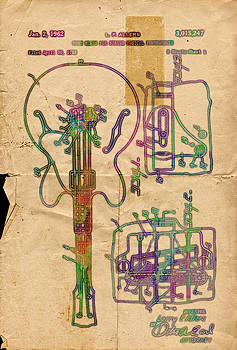 Patent Gibson Guitar Drawing Poster Print by Robert R Splashy Art Abstract Paintings