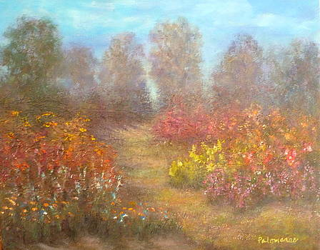 Path through flower Garden Landscape Painting by Amber Palomares