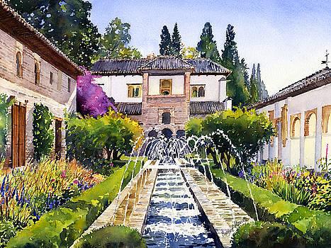 Patio de la Acequia Generalife Granada in Autumn by Margaret Merry