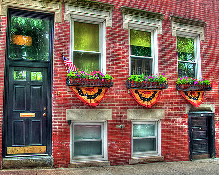 Patriotic Windows and Doorways - Boston North End by Joann Vitali