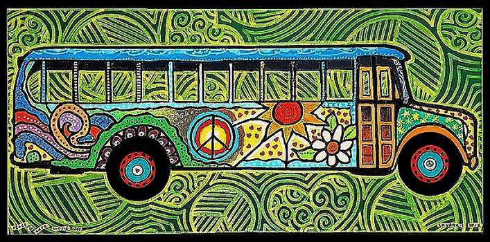 Peace and Love Hippie Bus by Jim Harris