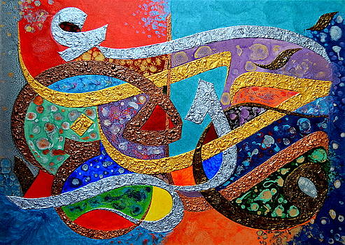 Peace Love And Hope Arabic Inspirational Calligraphy by Riad Belhimer